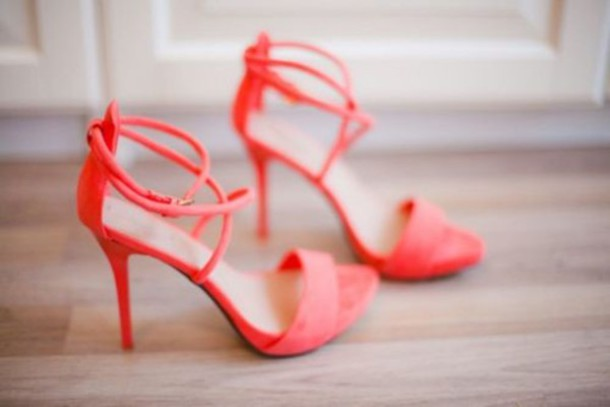 Shoes: pink, coral, high heels, sandals, heels, shoes heels ...