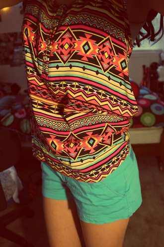shirt aztec blouse tribal pattern orange hippie colorful t-shirt aztec tank top