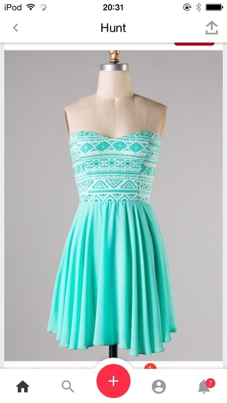 dress turquoise blue tribal pattern print