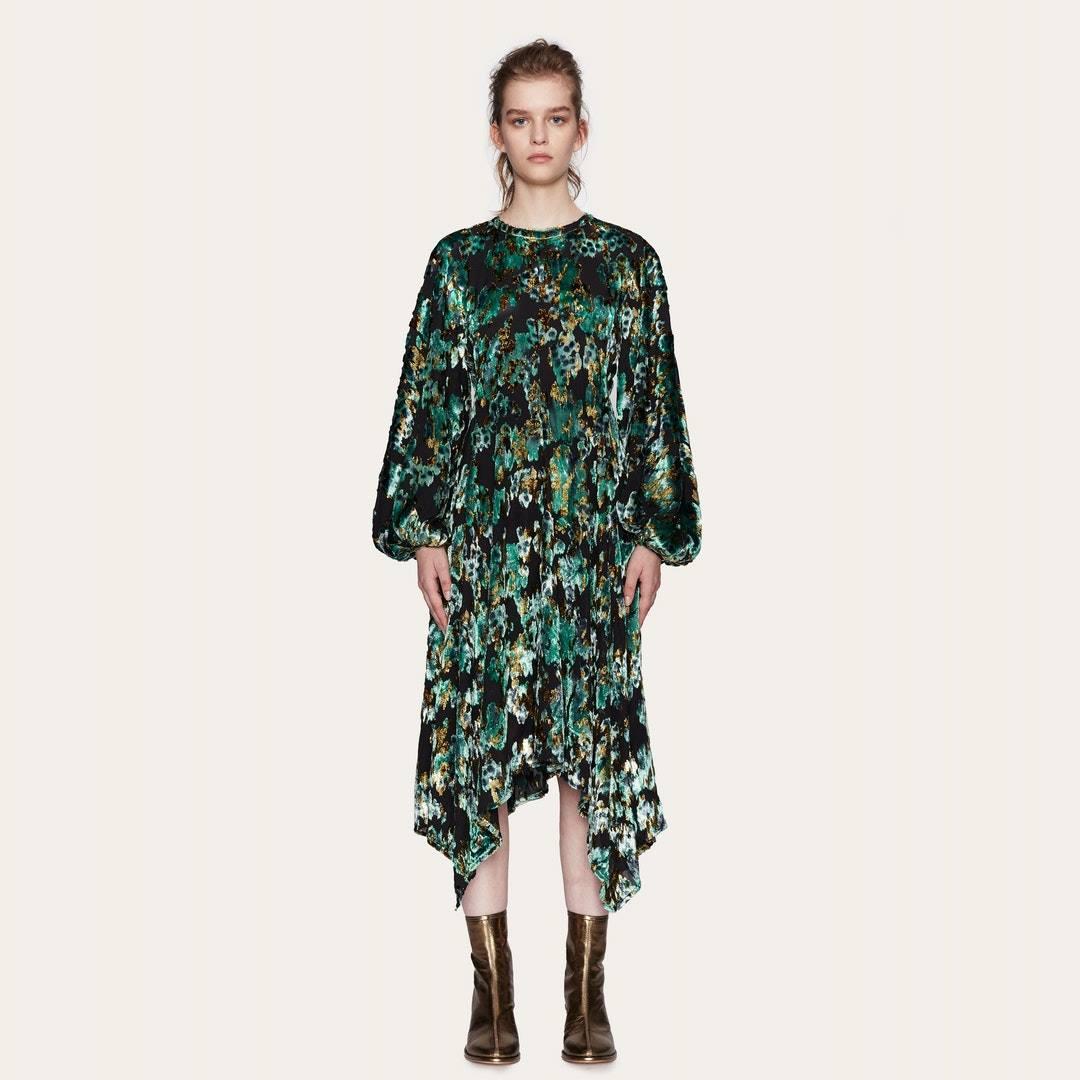 Gus Dress in Velvet Distortion - Green & Gold - Stine Goya