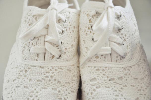 0cb853410 shoes lace white lace shoes white shoes crochet shoes crochet cutes sneakers  toms