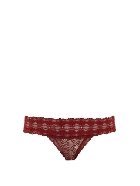 STELLA MCCARTNEY LINGERIE thong geometric lace burgundy underwear