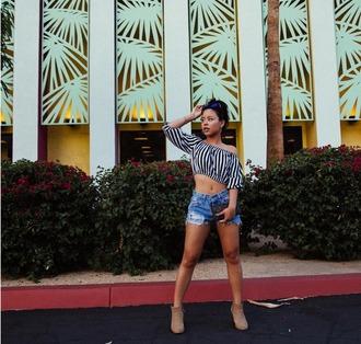 shorts cierra ramirez ankle boots suede boots distressed denim shorts denim denim shorts crop tops stripes striped crop top striped top sunglasses mirrored sunglasses round sunglasses blouse shoes