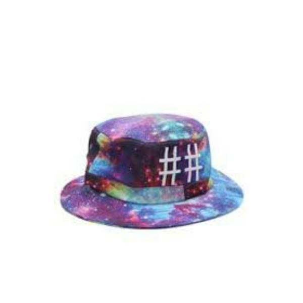 galaxy print bucket hat hashtag