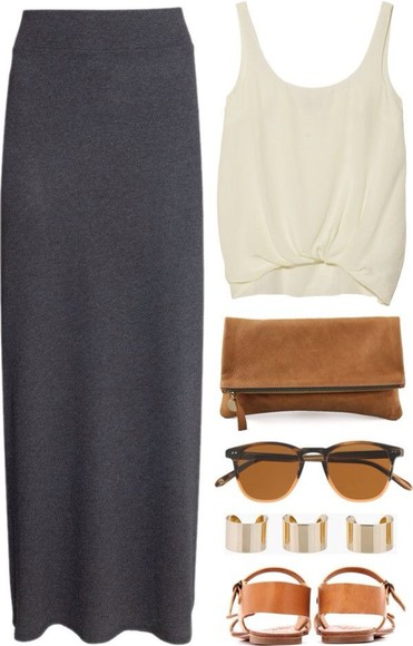 maxi skirt white brown grey tank wallet sunglasses tank top bag