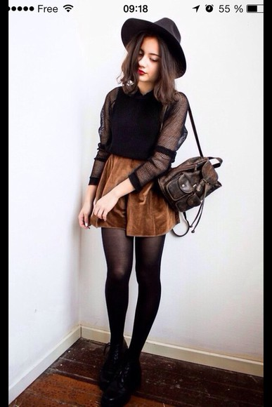 skirt blouse black sweater pullover brown cute cute outfits hat bag leather backpack velvet velvet skirt