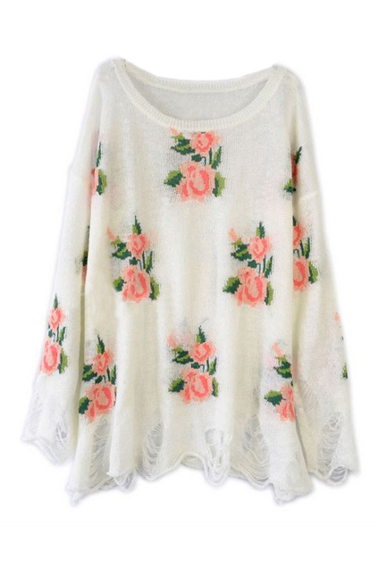 Floral printed white irregular sweater, the latest street fashion