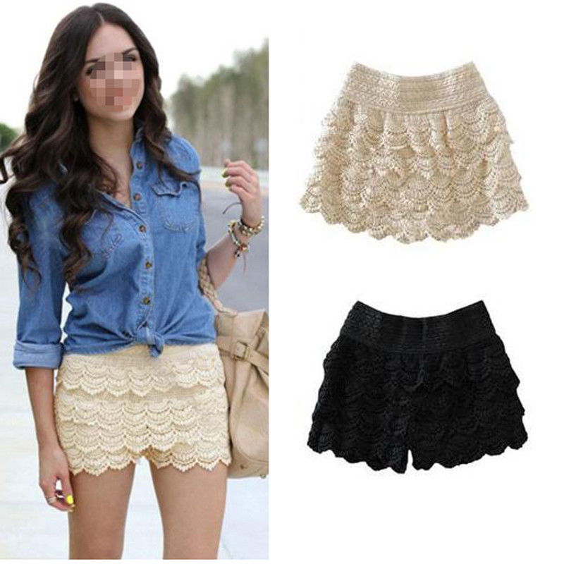 Womens Girls Korean Sweet Cute Crochet Tiered Lace Shorts Skorts Short Pants | eBay
