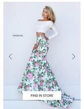 dress,two piece dress set,two-piece,long dress,long prom dress,long sleeve dress,long sleeves,prom dress,prom gown,prom,floral,floral dress,mermaid prom dress,mermaid,white,white dress