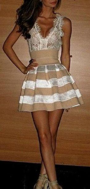 dress clothes lace dress white nude stripes lace top dress tan dress lace cream low cut white lace top cream and white striped bottom