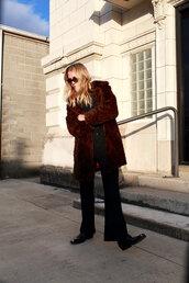 coat,tumblr,fur coat,brown coat,pants,black pants,wide-leg pants,boots,black boots,sunglasses