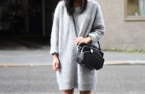 dress grey dress crossbody bag fashion sweater grey sweater pretty girly bag