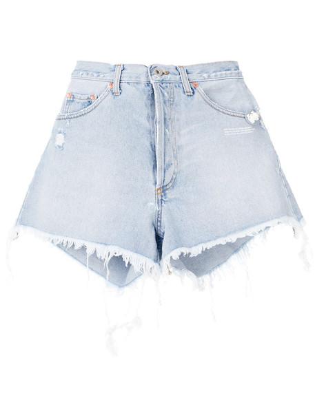Off-White shorts denim shorts denim women cotton blue