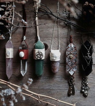 jewels necklace gems gem stones boho hippie natural art witch witchcraft moon child