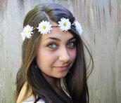 hair accessory,wedding,hippie,flower crown,flower headband,flowers,headband,daisy,grunge,boho,woodland