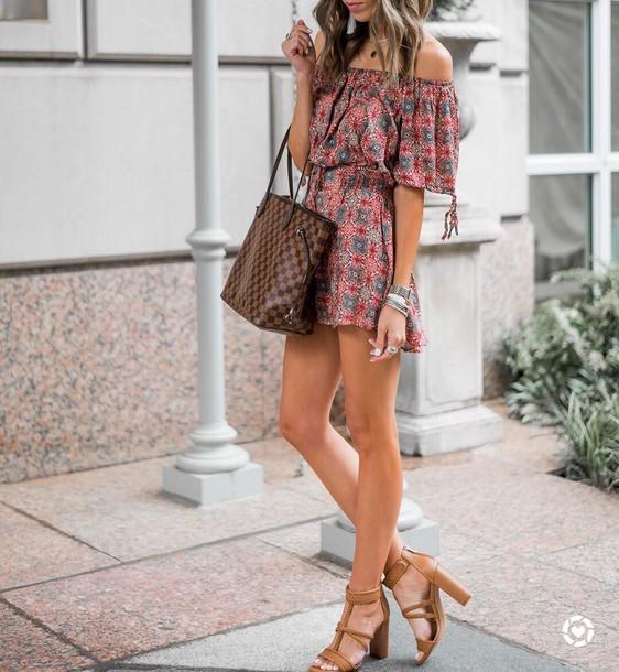 421493b1134d romper tumblr off the shoulder sandals sandal heels high heel sandals bag  brown bag summer outfits