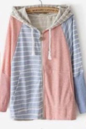jacket stripes white stripes pastel pink blue pinky blue cute pink jacket cool sweet sweater pale pink jacket style