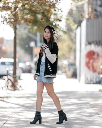 jacket tumblr varsity jacket black jacket bomber jacket boots black boots ankle boots skirt mini skirt denim denim skirt beret