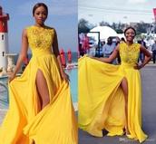 dress,yellow,beautiful dresses,side split dress,long dress,no sleeve .,not sleves