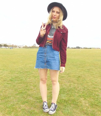 the velvet black grunge blogger t-shirt skirt suede jacket denim skirt converse frayed denim skirt mini skirt grey t-shirt baseball jacket burgundy jacket hat black hat black converse
