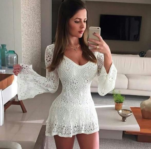 Dress: lace romper, white dress, lace dress, bell sleeves, white ...