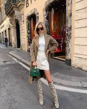 bag,handbag,mini bag,crocodile,mini skirt,button up skirt,knee high boots,snake print,turtleneck,coat,sunglasses