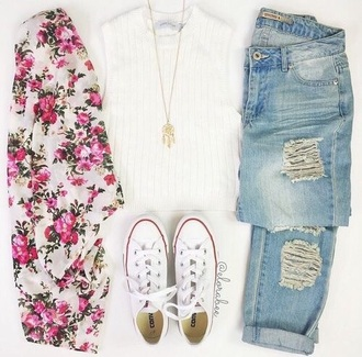 cardigan pinterest pink fashion floral flowers top jeans