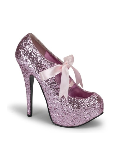 Bordello Pink Glitter Burlesque Platform Shoes