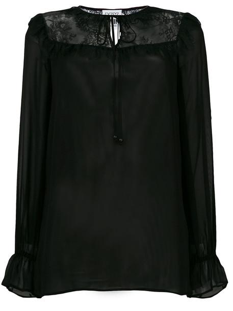 Twin-Set blouse women lace black top