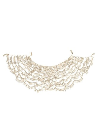scalloped necklace white jewels