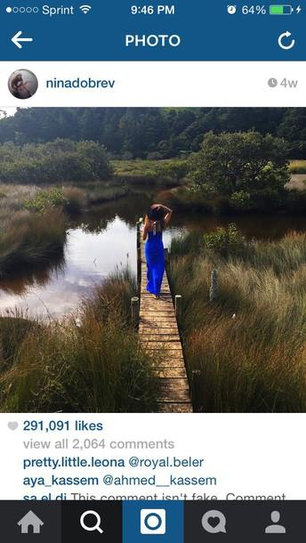 nina dobrev maxi dress blue dress blue maxi dress dress
