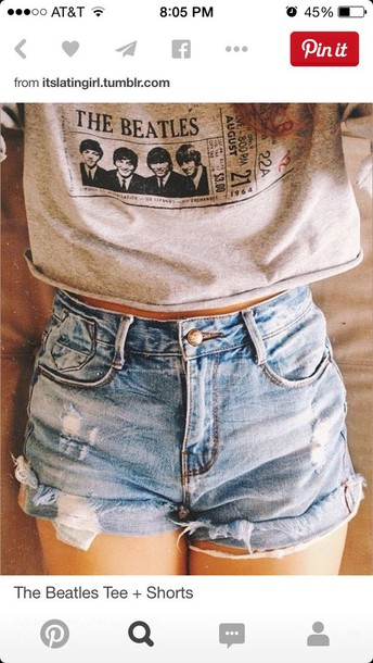 shirt the beatles High waisted shorts