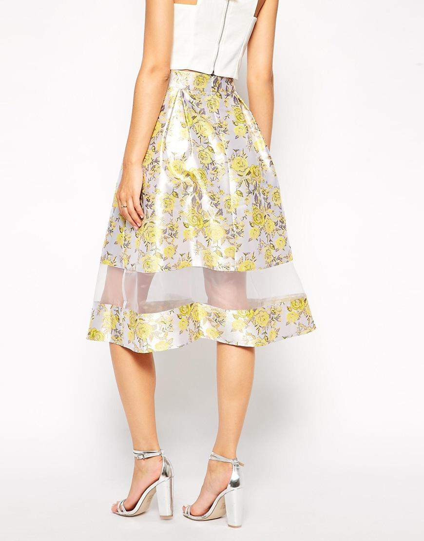 ASOS Premium Skirt In Jacquard With Sheer Hem at asos.com