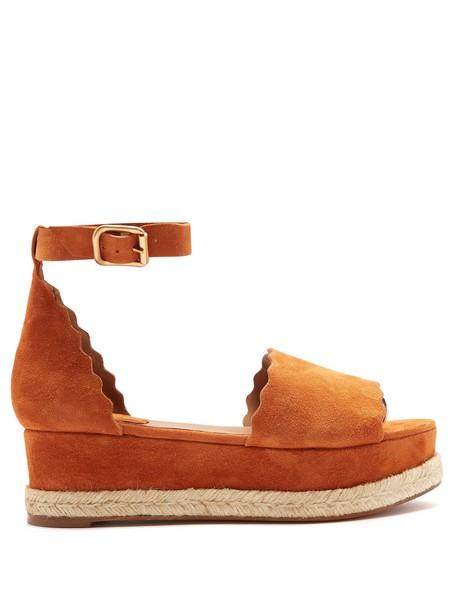 Chloe espadrilles suede tan shoes