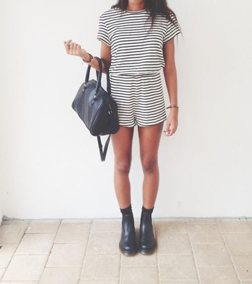 boots black bag romper stripes striped romber