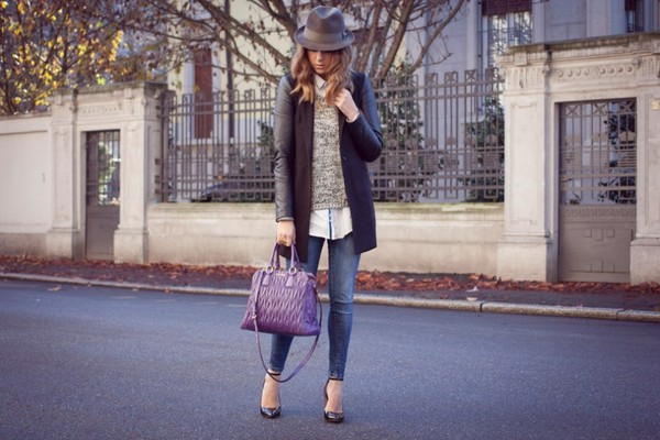 scent of obsession coat sweater jeans jewels shoes