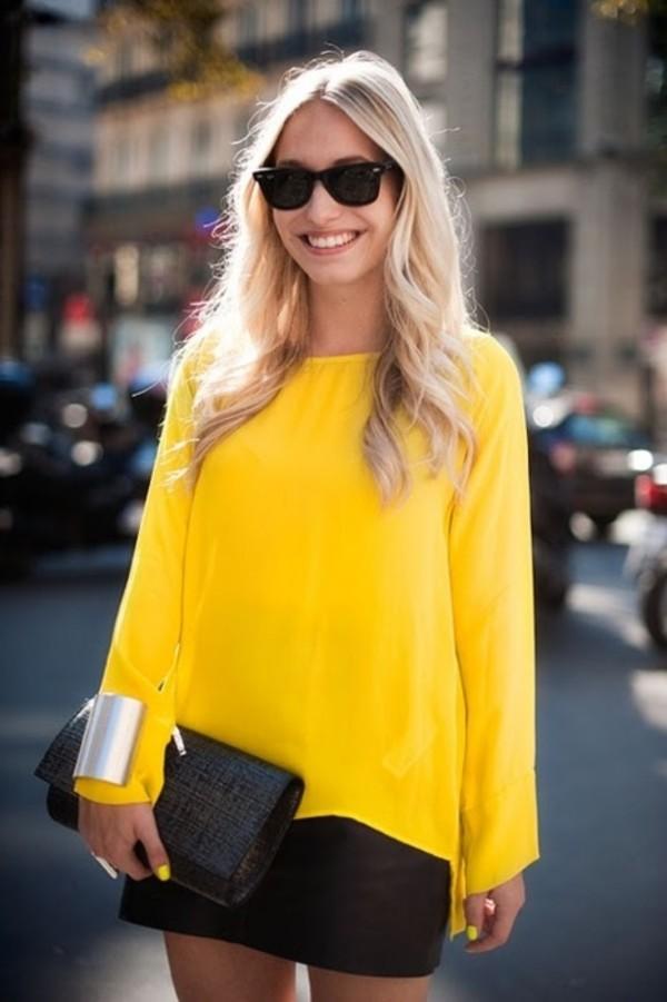 Blouse yellow shirt yellow blouse - Wheretoget