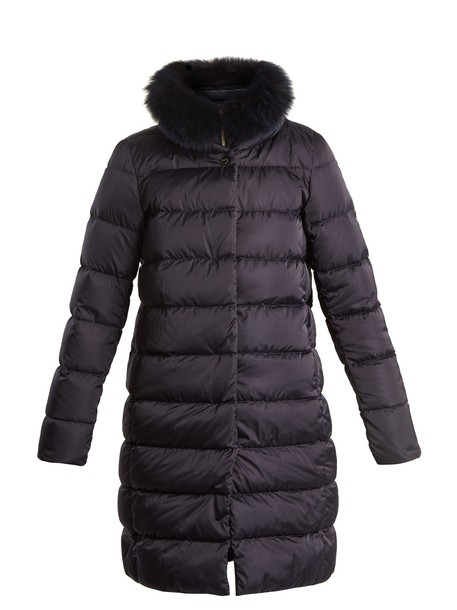 Herno jacket down jacket fur quilted navy