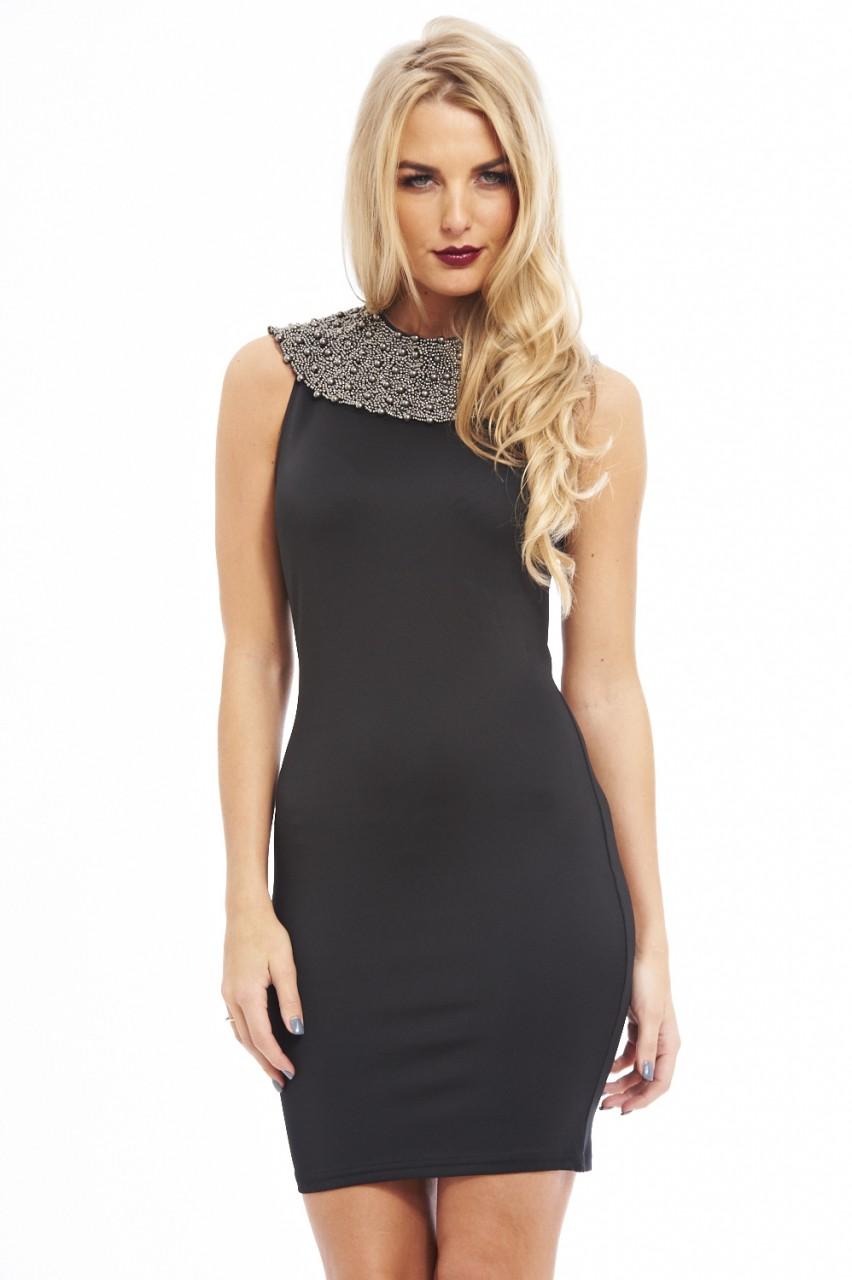 Black Beaded Collar Midi Dress