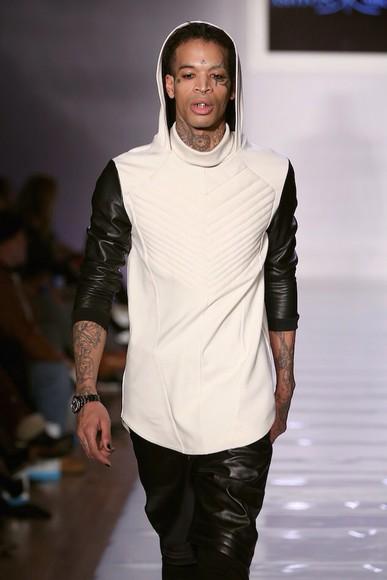 fashion white blouse ashton michael fabolous leather pants