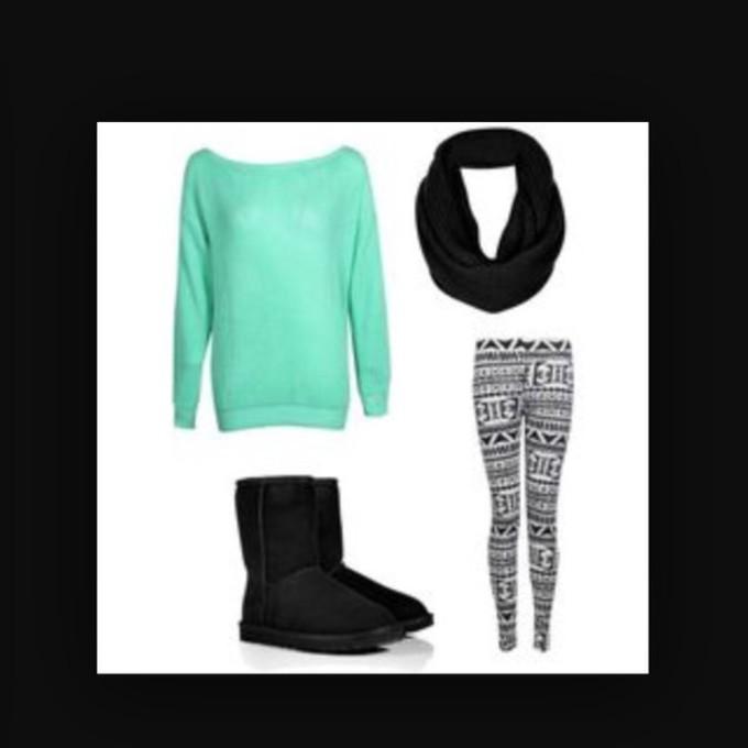lime sunday pants leggings aztec ugg boots aztec leggings black scarf dress scarf red