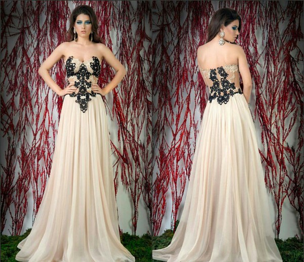 black lace chiffon beige evening dress prom dress a line crochet crochet