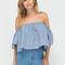 Summer hit off-shoulder chambray blouse blue - gojane.com
