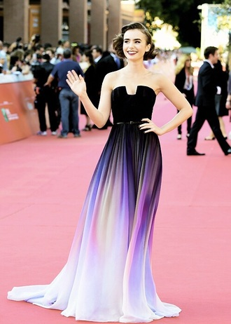 dress lily collins purple dress red carpet dress