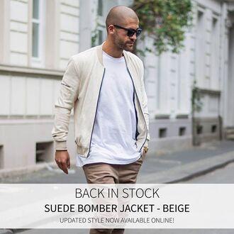 jacket maniere de voir suede bomber jacket beige satin 36683