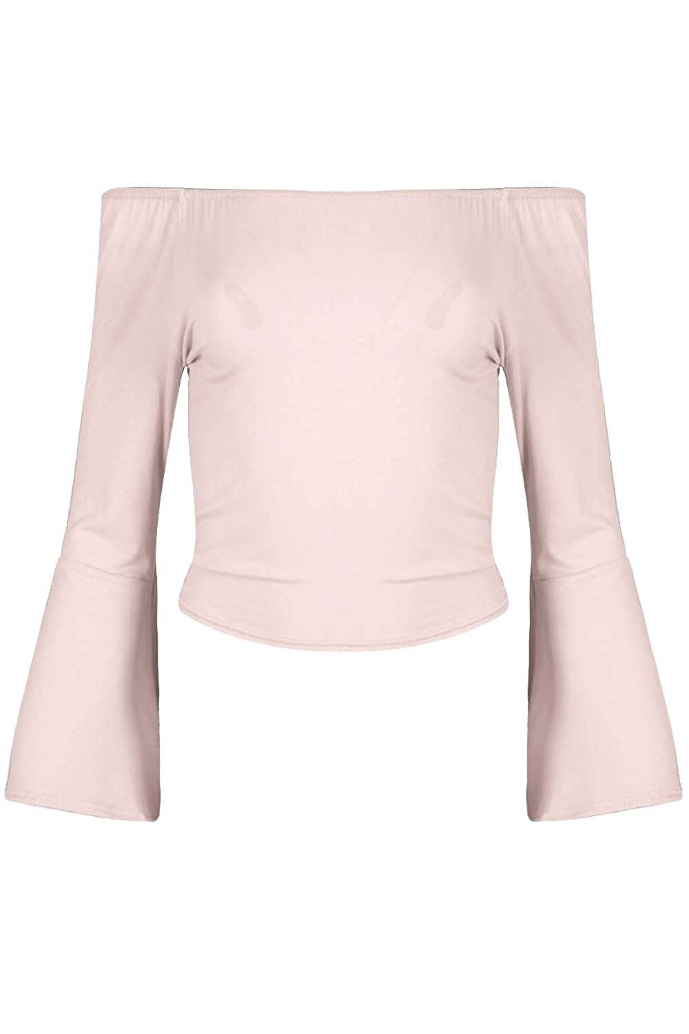 Be Jealous Womens Plain Off Shoulder Peplum Bell Sleeve Casual Bardot Crop Top at Amazon Women's Clothing store: