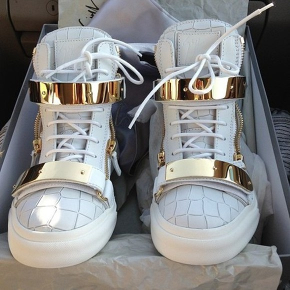 shoes metallic shoes white kicks high top sneaker sneakers gold original shoes white shoes gold shoes leather