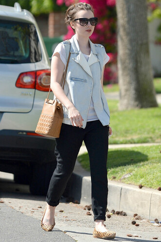 shoes flats ballet flats animal print lily collins jacket vest