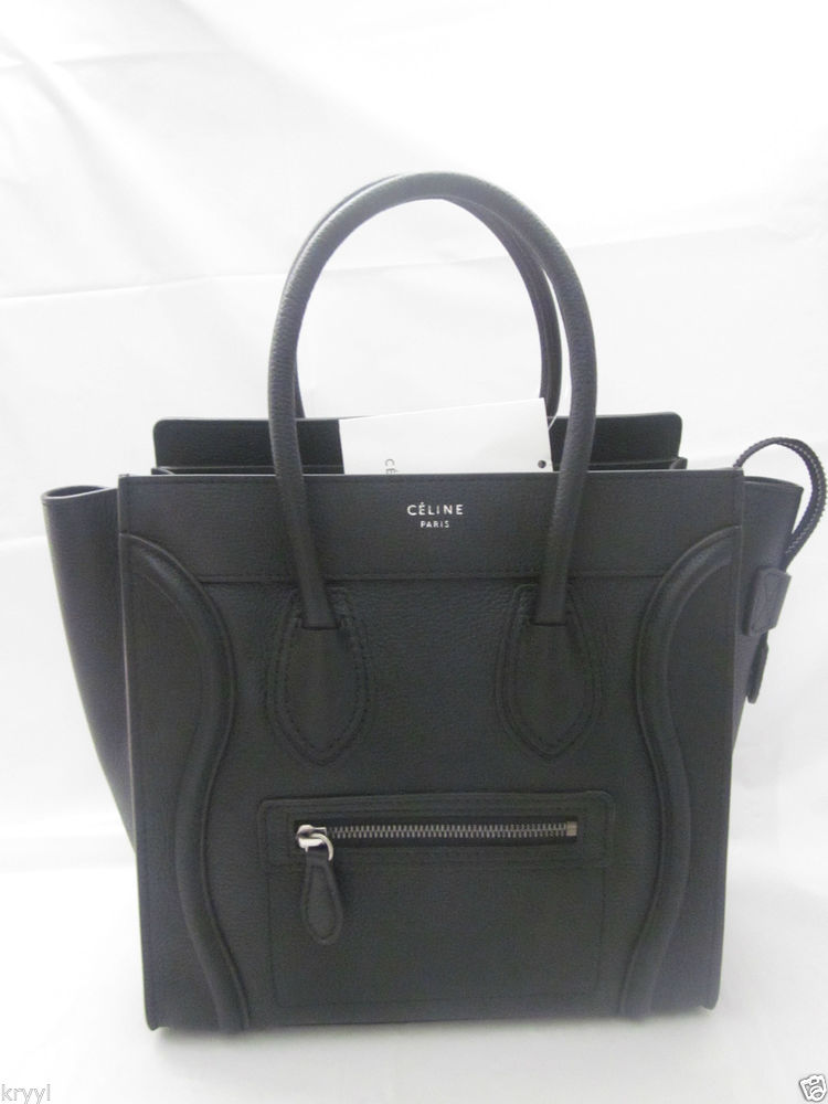 Celine Black Micro Luggage PEBBLED Leather Tote Bag | eBay