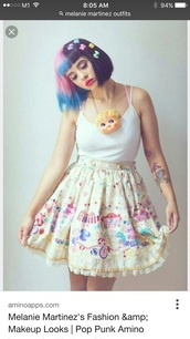 skirt,melanie martinez,skater skirt,pastel,printed skirt